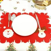 2 stks kerst cartoon non-woven placemat mes en vork set (Santa Claus + herten)
