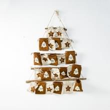 2 PC'S Christmas Countdown stof opknoping tas opbergtas decoratie (bruin)
