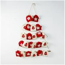 2 PC'S Christmas Countdown stof opknoping tas opbergtas decoratie (rood)