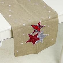 2 PC'S kerst stof kerstboom borduurwerk tabel vlag decoraties  stijl: rechthoek (kaki)