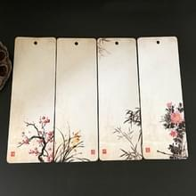 Elegante patroon papier Bookmark school briefpapier exquise kleine gift (Plum Orchid bamboe chrysant)