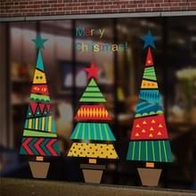 Kleurrijke cartoon kerstboom muur sticker Shop venster woonkamer kerst decoratie