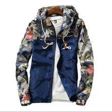 Floral Bomber Jacket Heren Hip Hop Slim Fit Bloemen Pilot Bomber Jas Jassen voor heren  maat: M(Navy Blue)