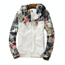 Floral Bomber Jacket Men Hip Hop Slim Fit Flowers Pilot Bomber Jacket Jas jassen met capuchon voor heren  maat: L(Wit)