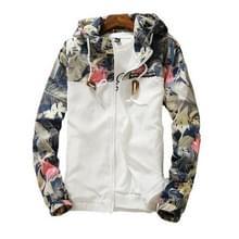 Floral Bomber Jacket Heren Hip Hop Slim Fit Bloemen Pilot Bomber Jas Jassen voor heren  maat: XL(Wit)