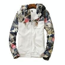 Floral Bomber Jacket Heren Hip Hop Slim Fit Bloemen Pilot Bomber Jas Jassen voor heren  maat: XXL(Wit)