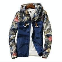 Floral Bomber Jacket Heren Hip Hop Slim Fit Bloemen Pilot Bomber Jas Jassen voor heren  maat: XXL(Navy Blue)