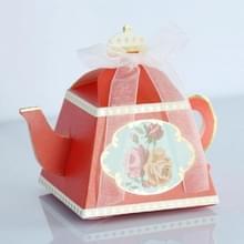 50 PCS creatieve hete theepot vorm bruiloft Candy box middag thee gebak vak (rood)