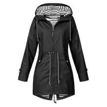 Vrouwen Waterproof Rain Jacket Hooded Regenjas  Maat:XXXXXL(Zwart)