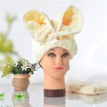 Microfiber Solid Hair tulband snel droog haar hoed verpakt handdoek (geel)