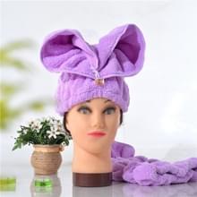 Microfiber Solid Hair tulband snel droog haar hoed verpakt handdoek (paars)