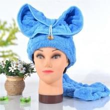 Microfiber Solid Hair tulband snel droog haar hoed verpakt handdoek (blauw)