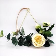 DIY creatieve muur opknoping Home hennep touw opknoping kunstmatige bloem smeedijzeren hanger (driehoek ring + bloem)