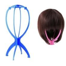 Verstelbare plastic pruik staan draagbare vouwen mannequin hoofd standaard (Blauw)