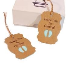 50 PCS dank u voor komende Kraft papier baby douche verjaardag partij Lable (blauw)