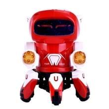 Kinderen licht muziek projectie oogverblindende dans Six-Claw elektrische robot speelgoed (rood)