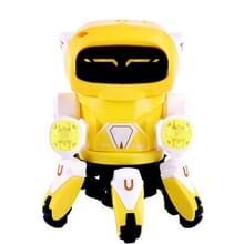 Kinderen licht muziek projectie oogverblindende dans Six-Claw elektrische robot speelgoed (geel)