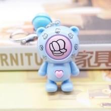 Creatieve cartoon Bear Gisende sleutelhanger hanger stenen schaar doek zak sleutelhanger auto hanger kleine geschenken (blauwe Beer + blauwe bel)