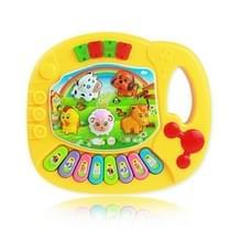 3 STKS cartoon boerderij dieren muziek piano kinderen vroege onderwijs intelligentie elektrisch speelgoed (gele Zakged)