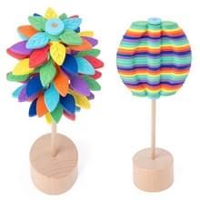 Massief houten roterende Lollipop Fischer serie creatieve ornamenten decompressie Toy decompressie artefact (bladeren)