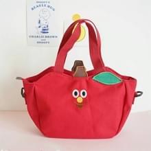 Cartoon schouder tote tas fruit banaan Apple geborduurd canvas Kids Cross Body Messenger Bags (rood)
