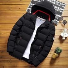 Winter mannen solid color korte jas slim warme capuchon katoenen kleding casual jeugd down jas  maat: l (zwart)