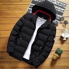 Winter mannen solid color korte jas slim warme capuchon katoenen kleding casual jeugd down jas  maat: XL(Zwart)