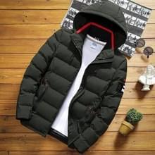 Winter mannen solid color korte jas slim warme capuchon katoenen kleding casual jeugd down jas  maat: XL (Army Green)