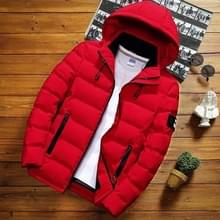 Winter mannen solid color korte jas slim warme capuchon katoenen kleding casual jeugd down jas  maat:XXL(rood)