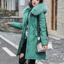 Katoen liner warme jas waterdichte jas vrouwen slanke lange vacht vrouwelijke winter Big Fur Hooded parka jassen  grootte: XXL (groen)