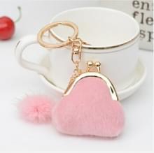 3 stuks mini unieke sleutelhanger Coin Purse vrouwen Pompon konijn Fur Ball pluche sleutel ring houder meisjes tassen charme vrouwen portemonnee portemonnee (roze)