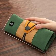 Creatieve retro schattig Roll up potlood geval kleurrijke grote opslag potlood zak (groen)