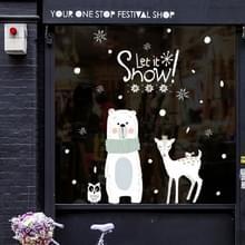 Kerst schattige kleine beer herten glas sticker Mall shop venster sticker  grootte: 60x90CM