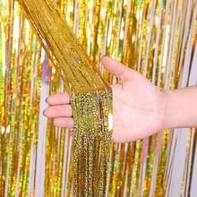 2 PCS Achtergrond Gordijnen Glitter Gold Klatergoud Fringe Folie Verjaardag Verjaardag Decoratie Adult Anniversary Decor  Grootte: 1 * 4m (Goud)