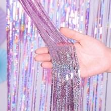 2 PCS Achtergrond Gordijnen Glitter Gold Klatergoud Fringe Folie Verjaardag Verjaardag Decoratie Adult Anniversary Decor  Grootte: 1 * 4m (Roze)