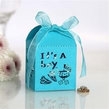 100 PCS Baby Shower Party Candy Box Huwelijksgeschenk doos  Grootte: 5 x 5 x 8cm (Lichtblauw)