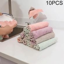 Keuken Rag dubbelzijdig waterabsorberende wipe wastafel schotel Rag? Anti-stick olie meubilair schoonmaken doek willekeurige kleur levering  hoeveelheid: 10 stuks