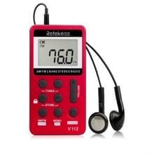 Retekess V-112 mini draagbare 1 5 inch LCD-scherm FM-radio met Lanyard & oortelefoon (rood)