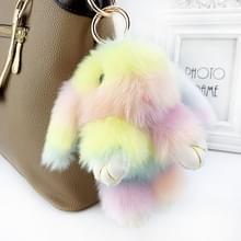 Gekleurde regenboog kawaii pluche konijn sleutelhanger konijn pop pluizig namaakbont pompom Bunny speelgoed sleutelhanger Kerstcadeaus voor kinderen (kleurrijke)