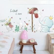 Cartoon cute kinderen kamer bed kleuterschool layout decoratieve muur stickers