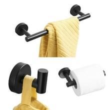 3 in 1 matte 304 RVS handdoek Bar papier handdoek rack haak badkamer accessoires bad douche set  kleur: zwart