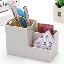 Creatieve multifunctionele Desktop plastic opslag telefoon houder pennenhouder (grijs)
