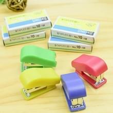 6 sets creatieve briefpapier Binder No. 10 nietjes + mini nietmachine instellen willekeurige kleur levering