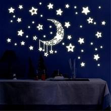 2 PC'S maan sterren lichtgevende stickers kinderen kamer slaapzaal permanent licht decoratieve muur stickers