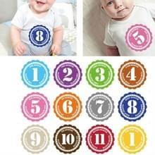 12 stuks/set pasgeboren baby maand stickers 1-12 maanden voor foto Keepsakes