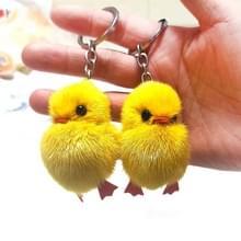2 stuks eendje hanger water Mink Chick sleutelhanger echte haar hanger tas accessoires kleine sieraden (Mink haren)