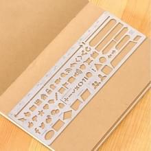 Multifunctionele RVS holle dagboeksjabloon liniaal  grootte: 13.8 × 6.8 cm (stijl 2)