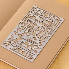 Multifunctioneel roestvrij stalen holle dagboek sjabloon liniaal  grootte:13 8 × 6 8 cm (Stijl 3)