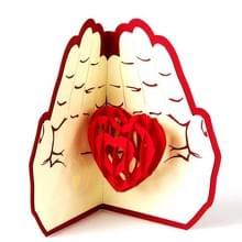 3D drie-dimensionale handgemaakte aangepaste wenskaart pop-up vouwen briefkaart bruiloft Valentine's Day Thanksgiving Gift (rood)