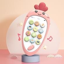 Schattig radijs vroeg onderwijs kinderen cartoon mobiele telefoon elektronische muziek speelgoed (roze)